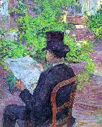 Henri  Toulouse-Lautrec Desire Dihau Reading a Newspaper in the Garden oil painting artist