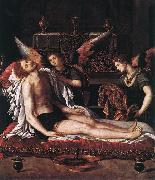 ALLORI Alessandro The Body of Christ with Two Angels oil