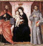 ANTONIAZZO ROMANO Madonna Enthroned with the Infant Christ and Saints jj oil