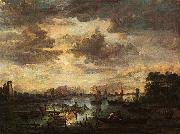 Aert van der Neer River Scene with Fishermen oil painting picture wholesale