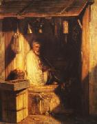Alexandre Gabriel Decamps Turkish Merchant smoring in His shop oil