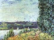 Alfred Sisley The Banks of the Seine : Wind Blowing oil painting picture wholesale
