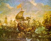 Andries van Eertvelt The Battle of the Spanish Fleet with Dutch Ships in May 1573 During the Siege of Haarlem oil