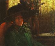 Artur Timoteo da Costa Lady in Green oil