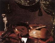 BASCHENIS, Evaristo Still-Life with Musical Instruments and a Small Classical Statue  www oil