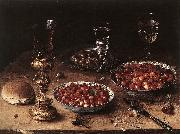 BEERT, Osias Still-Life with Cherries and Strawberries in China Bowls oil
