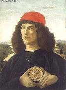 BOTTICELLI, Sandro Portrait of an Unknown Personage with the Medal of Cosimo il Vecchio  fdgd oil painting on canvas