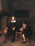 BREKELENKAM, Quiringh van Interior with Two Men by the Fireside f oil