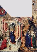 BROEDERLAM, Melchior The Annunciation and the Visitation d oil