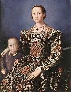 BRONZINO, Agnolo Eleonora of Toledo with her son Giovanni de  Medici oil