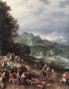 BRUEGHEL, Jan the Elder A Flemsh Fair (detail) f oil painting artist