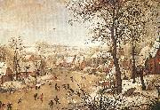 BRUEGHEL, Pieter the Younger Winter Landscape with a Bird-trap oil painting artist