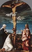 BURGKMAIR, Hans Crucifix with Mary, Mary Magdalen and St John the Evangelist oil