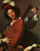 Bernardo Strozzi Lute Player oil