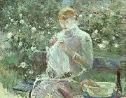 Berthe Morisot Young Woman Sewing in the Garden oil painting picture wholesale