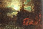 Bierstadt, Albert The Trappers' Camp oil painting picture wholesale