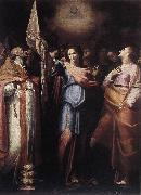 CAVAROZZI, Bartolomeo St Ursula and Her Companions with Pope Ciriacus and St Catherine of Alexandria g oil