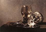 CLAESZ, Pieter Still-life with Wine Glass and Silver Bowl dsf oil