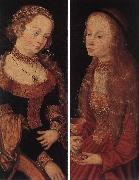 CRANACH, Lucas the Elder St Catherine of Alexandria and St Barbara sdg oil painting picture wholesale