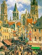 Camille Pissaro The Old Market Town at Rouen oil painting picture wholesale