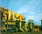 Canaletto Capriccio, The Horses of San Marco in the Piazzetta oil painting artist