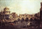 Canaletto Capriccio: The Grand Canal, with an Imaginary Rialto Bridge and Other Buildings fg oil painting picture wholesale