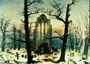 Caspar David Friedrich Cloister Cemetery in the Snow oil painting artist