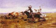 Charles M Russell O.H.Cowboys Roping a Steer oil painting picture wholesale