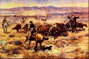 Charles M Russell The Round Up oil painting picture wholesale