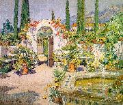 Colin Campbell Cooper A Santa Barbara Courtyard oil
