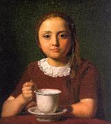 Constantin Hansen Little Girl with a Cup oil