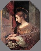 DOLCI, Carlo St Cecilia at the Organ dfg oil