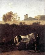 DUJARDIN, Karel Italian Landscape with Herdsman and a Piebald Horse sg oil painting artist