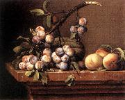 DUPUYS, Pierre Plums and Peaches on a Table dfg oil painting artist