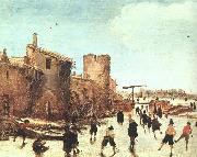 Esaias Van de Velde Skaters on the Moat by the Walls oil painting artist