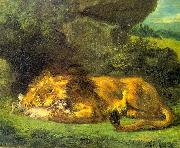 Eugene Delacroix Lion with a Rabbit oil painting picture wholesale