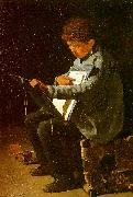 Francois Bonvin Seated Boy with a Portfolio oil