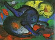 Franz Marc Two Cats, Blue and Yellow oil painting picture wholesale