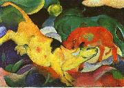 Franz Marc Cows, Yellow, Red, Green oil painting artist