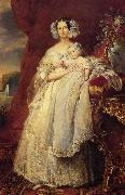 Franz Xaver Winterhalter Helene Louise Elizabeth de Mecklembourg Schwerin, Duchess D'Orleans with Prince Louis Philippe Alber oil painting picture wholesale