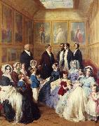 Franz Xaver Winterhalter Queen Victoria and Prince Albert with the Family of King Louis Philippe at the Chateau D'Eu oil painting picture wholesale