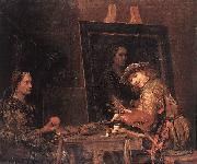 GELDER, Aert de Self-Portrait at an Easel Painting an Old Woman  sgh oil painting picture wholesale