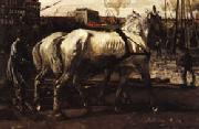 George-Hendrik Breitner Two White Horses Pulling Posts in Amsterdam oil painting picture wholesale