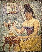 Georges Seurat Young Woman Powdering Herself oil painting artist