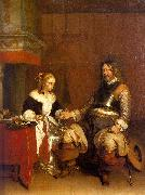 Gerard Ter Borch Soldier Offering a Young Woman Coins oil painting picture wholesale