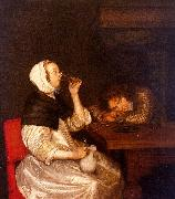 Gerard Ter Borch Woman Drinking with a Sleeping Soldier oil painting picture wholesale