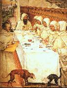 Giovanni Sodoma St.Benedict his Monks Eating in the Refectory oil painting artist