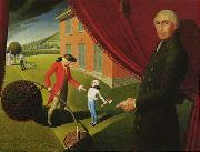 Grant Wood Parson Weem s Fable oil painting picture wholesale