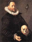 HALS, Frans Portrait of a Man Holding a Skull s oil painting