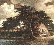 HOBBEMA, Meyndert Landscape with a Hut f oil painting picture wholesale